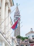 Bandeira do whit do tartini da praça de Eslovênia, Piran, Eslovênia Imagem de Stock Royalty Free