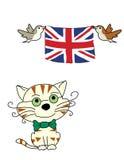 Bandeira do woth do gato e dos pássaros Fotografia de Stock Royalty Free