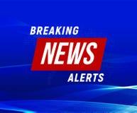 Bandeira dos alertas da notícia, fundo azul, bandeira das notícias de última hora, elemento do projeto da tevê, relatório em linh ilustração stock