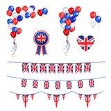 Bandeira dos balões e do Union Jack ilustração stock