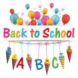 A bandeira dos cones dos doces Balloons Backt à escola ilustração stock