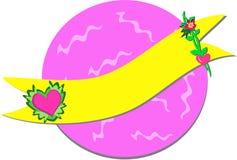 Bandeira dos corações com fundo colorido Imagens de Stock Royalty Free