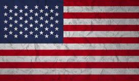 Bandeira dos E.U. com o efeito do papel amarrotado e do grunge ilustração stock