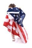 Bandeira dos E.U. da terra arrendada da criança Fotos de Stock Royalty Free