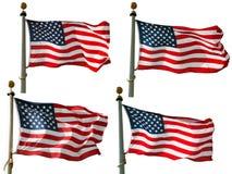 Bandeira dos E.U. em Pólo Imagens de Stock
