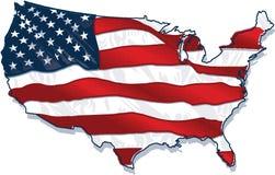 Bandeira país-dada forma EUA ilustração stock