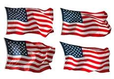 Bandeira dos E.U. isolada no branco Fotos de Stock Royalty Free