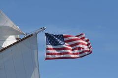 Bandeira dos E.U. no barco Imagens de Stock Royalty Free