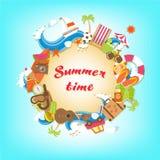Bandeira dos elementos das horas de verão Imagens de Stock Royalty Free