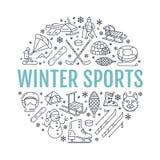 Bandeira dos esportes de inverno, aluguel do equipamento na estância de esqui Linha ícone do vetor de patins ilustração stock