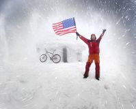 Bandeira dos Estados Unidos dos EUA em uma tempestade Fotografia de Stock