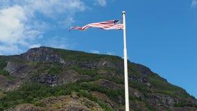 Bandeira dos EUA América que acena contra o céu video estoque