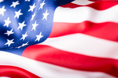 Bandeira dos EUA Bandeira americana Vento de sopro da bandeira americana Close-up Tiro do estúdio Imagem de Stock Royalty Free