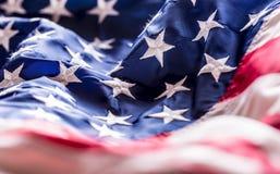 Bandeira dos EUA Bandeira americana Vento de sopro da bandeira americana Quarto - 4o de julho Imagens de Stock