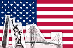 Bandeira dos EUA com monumentos Foto de Stock Royalty Free