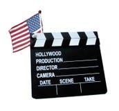 A bandeira dos EUA com o grampo da placa do filme Fotografia de Stock
