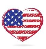 Bandeira dos EUA do coração ilustração stock
