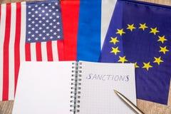 Bandeira dos EUA e da Europa Sanções de Rússia imagem de stock