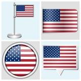 Bandeira dos EUA - grupo de etiqueta, de botão, de etiqueta e de mastro Fotos de Stock Royalty Free