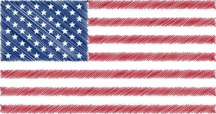 Bandeira dos EUA, ilustração do vetor do desenho de lápis Foto de Stock