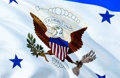 Bandeira dos EUA projeto de ondulação da bandeira 3D O símbolo nacional dos EUA, rendição 3D Cores do vice-presidente National Ba imagens de stock royalty free