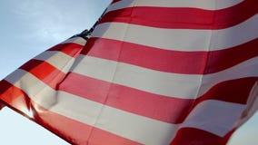 A bandeira dos EUA que acenam no vento video estoque