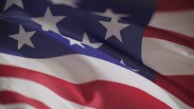 Bandeira dos EUA que acenam perto acima, movimento lento filme