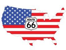 Bandeira dos EUA - rota 66 Imagem de Stock Royalty Free