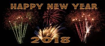 Bandeira dos fogos-de-artifício do ano novo feliz 2018 imagem de stock