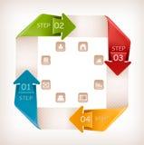 Bandeira dos gráficos da informação com ícones. Temp retro do projeto ilustração stock