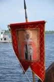 Bandeira dos guerreiros antigos do russo que descrevem Saint - um gonfalon Fotografia de Stock Royalty Free