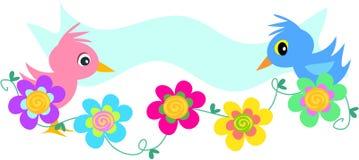 Bandeira dos pássaros com flores espirais Imagem de Stock Royalty Free