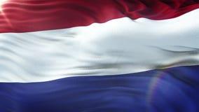 Bandeira dos Países Baixos que acenam no vento Laço sem emenda com textura altamente detalhada da tela Laço pronto na definição 4 ilustração stock
