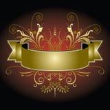 Bandeira dourada com flourishes Imagens de Stock Royalty Free