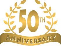bandeira dourada do aniversário/eps Fotos de Stock Royalty Free