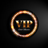 Bandeira dourada do vip com luzes Foto de Stock Royalty Free