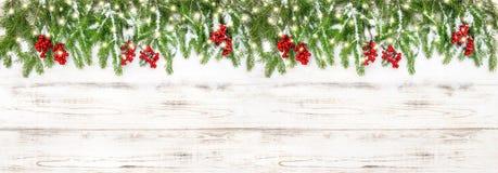 Bandeira dourada dos feriados das luzes das bagas vermelhas da decoração do Natal fotos de stock royalty free