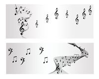 Bandeira do vetor da melodia, da nota e da música Fotografia de Stock Royalty Free