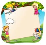Bandeira e crianças ilustração stock