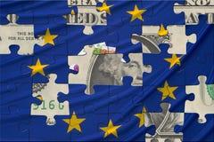 Bandeira e dólar europeus Imagens de Stock Royalty Free