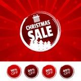 Bandeira e 10% da cor da venda do Natal, 20%, 30% & 40% fora das marcas Ilustração do vetor Foto de Stock