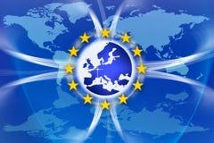 Bandeira e estrelas de união de Europa ilustração stock