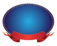 Bandeira e fita azuis Fotografia de Stock