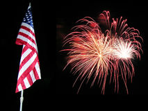 Bandeira e fogos-de-artifício 3 Fotos de Stock