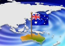 Bandeira e mapa australianos Fotografia de Stock Royalty Free