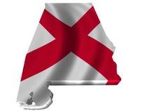 Bandeira e mapa de Alabama Imagem de Stock
