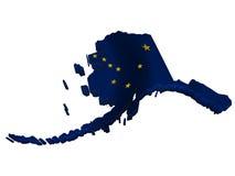 Bandeira e mapa de Alaska Imagens de Stock Royalty Free