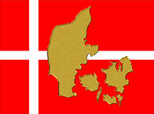 Bandeira e mapa de Dinamarca Fotos de Stock