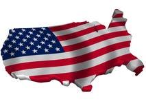 Bandeira e mapa de Estados Unidos da América Imagens de Stock Royalty Free