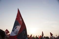 Bandeira e mulher Fotografia de Stock Royalty Free